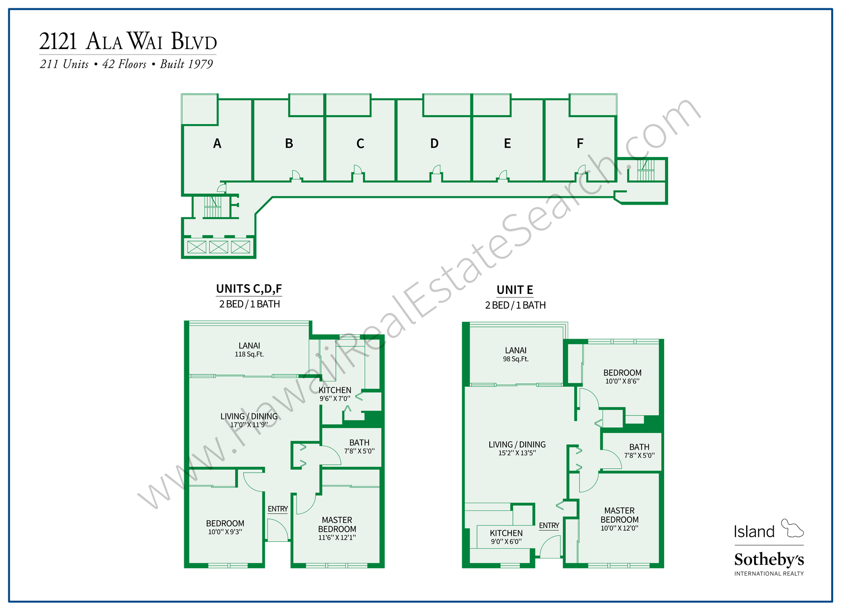 2121 Ala Wai Map with Floor Plans