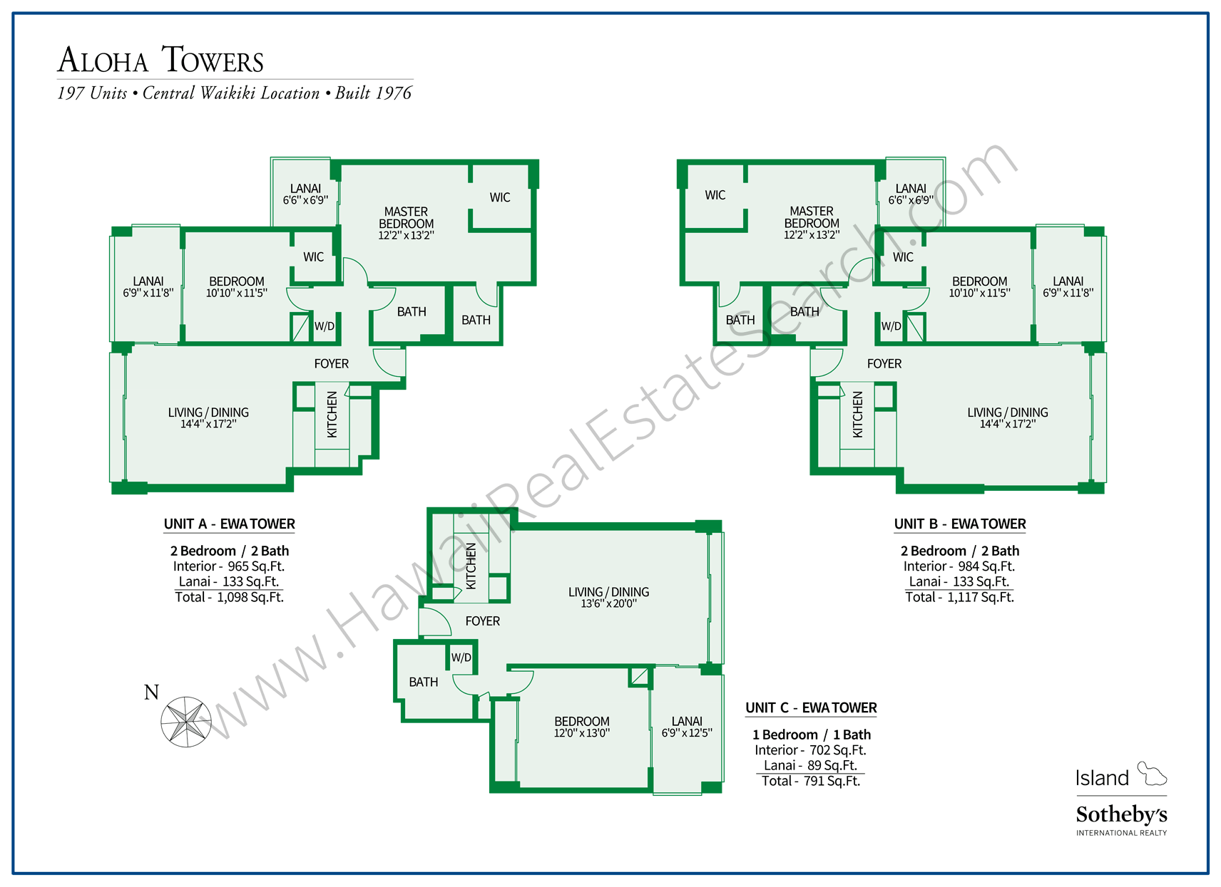 Aloha Towers Floor Plans Set 1
