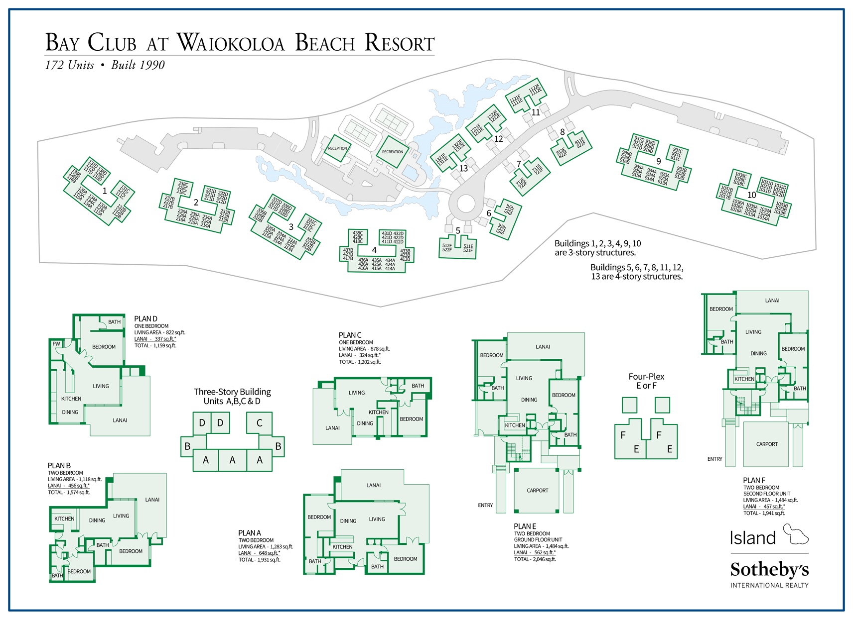 bay club at waiokoloa beach resort map with floor plans