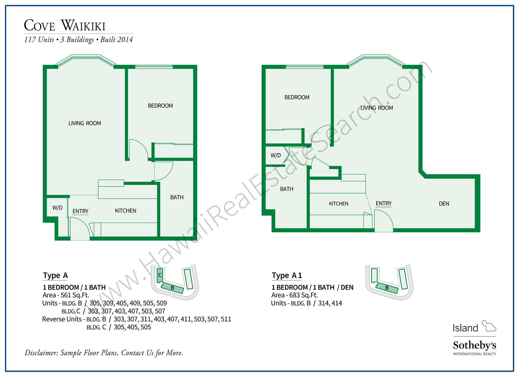 Floor Plans of Cove Waikiki Condos