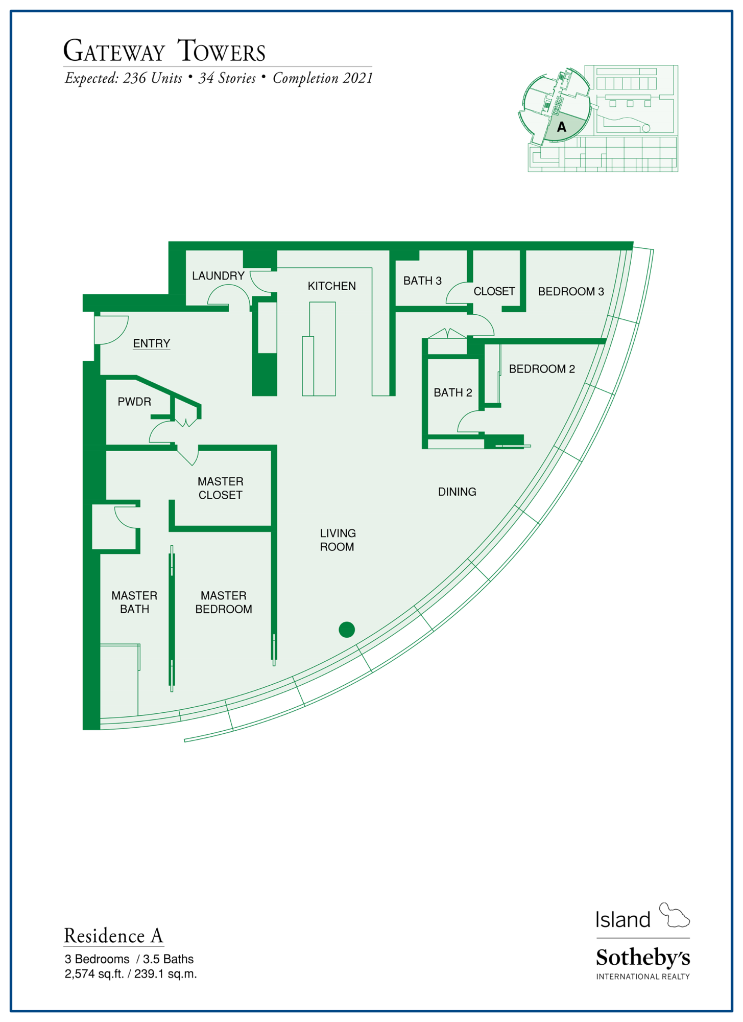 Gateway Towers Honolulu Floor Plan A