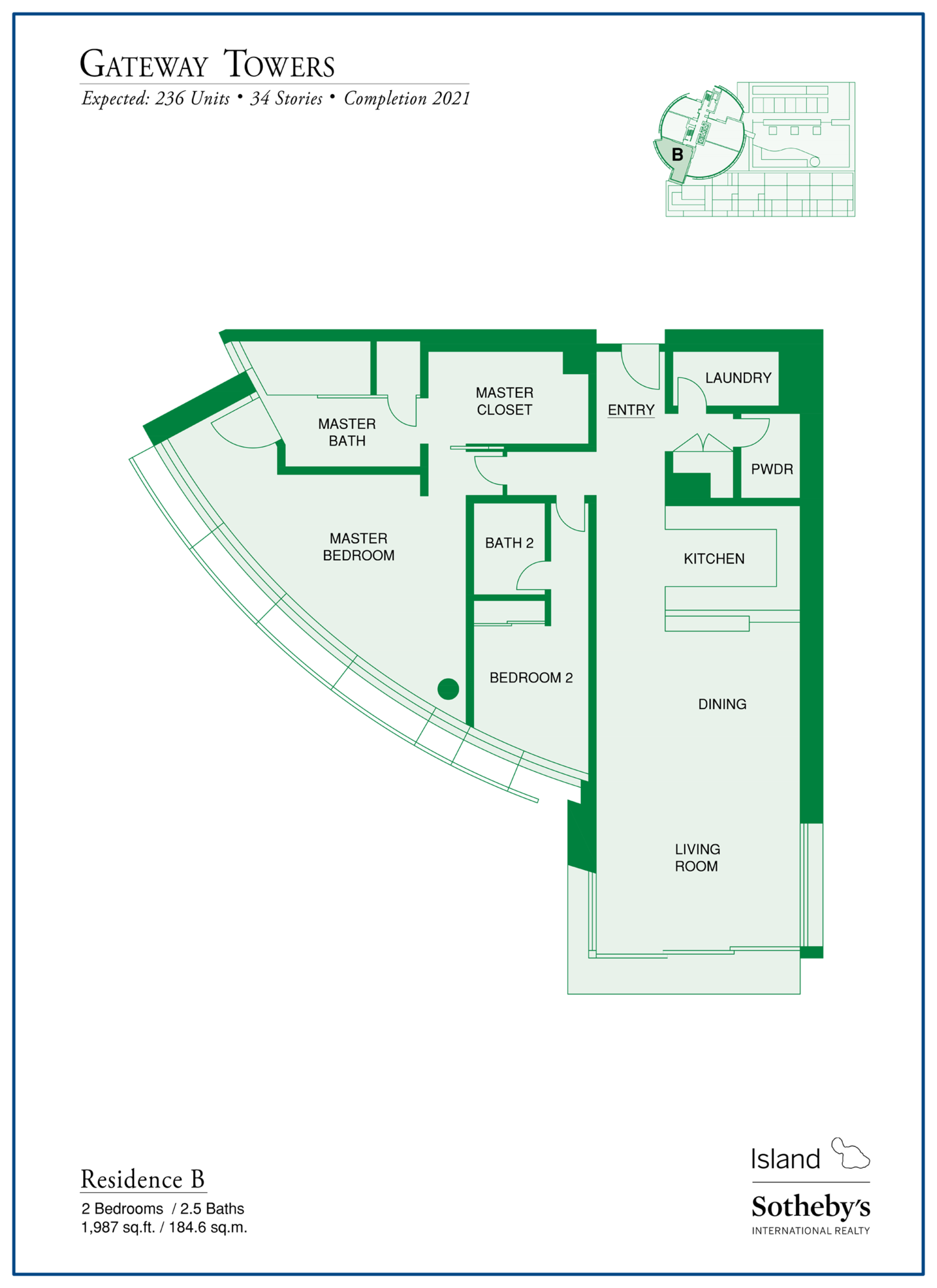 Gateway Towers Honolulu Floor Plan B