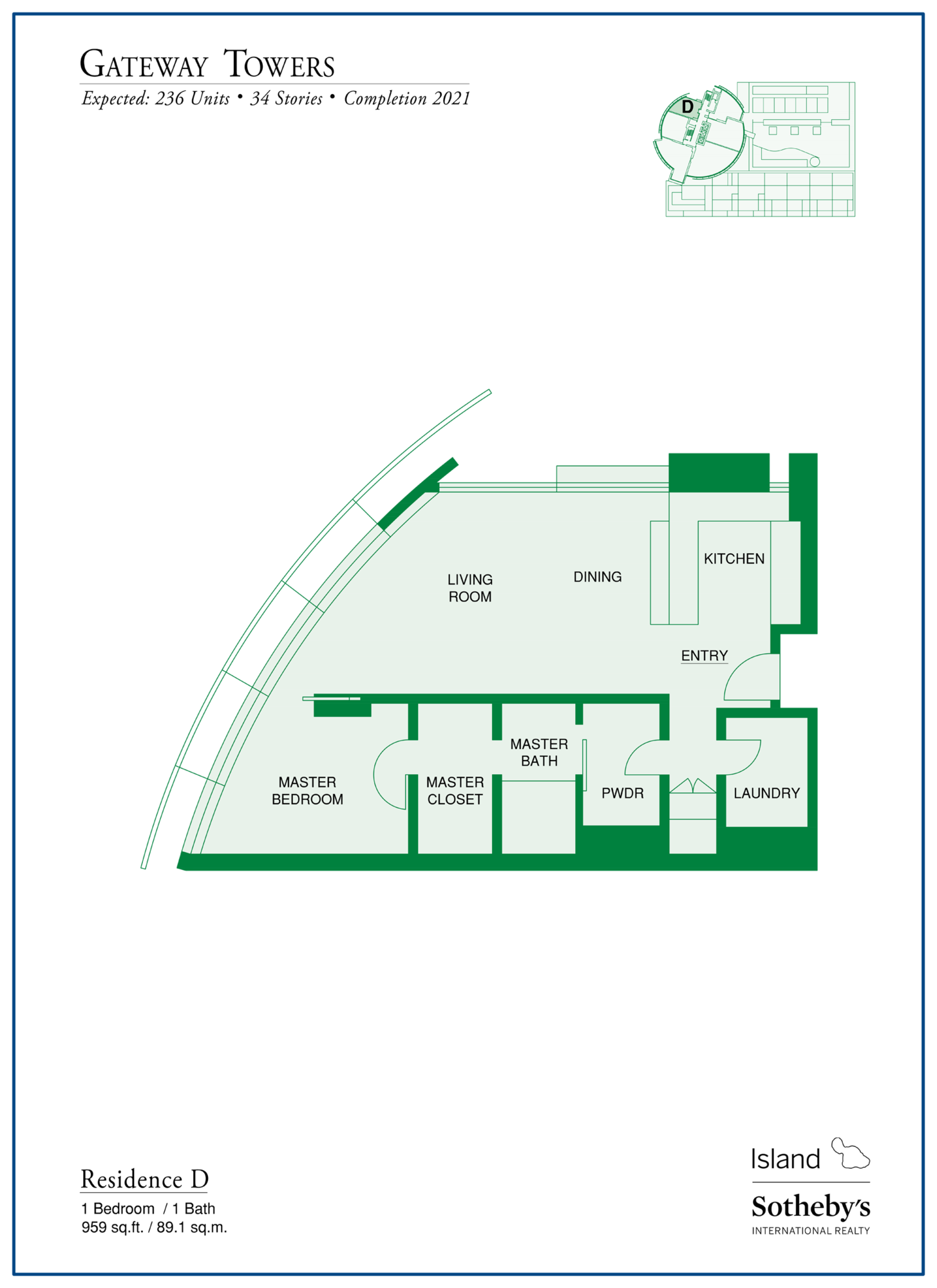 Gateway Towers Honolulu Floor Plan D Kakaako