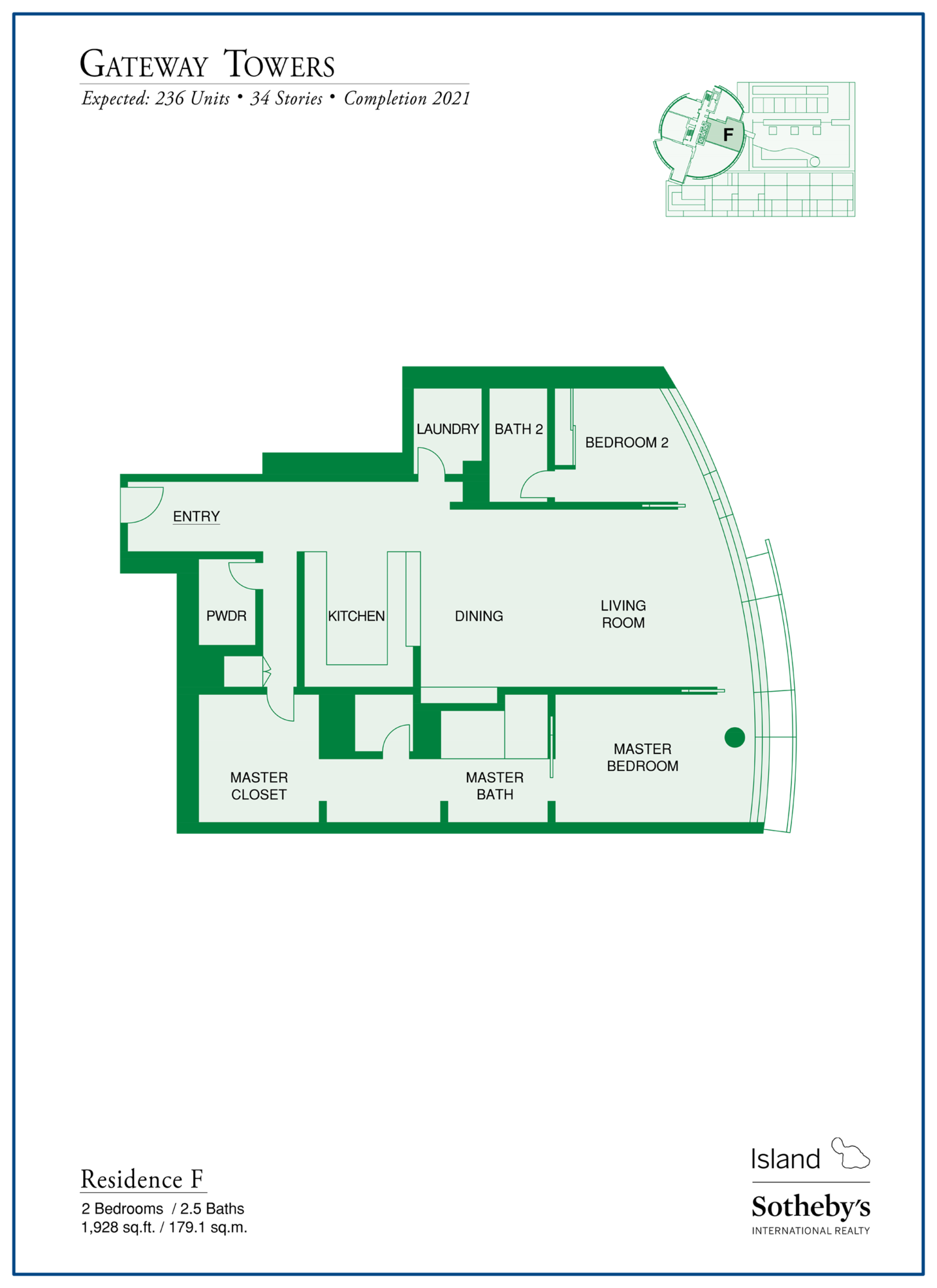 Gateway Towers Honolulu Floor Plan F