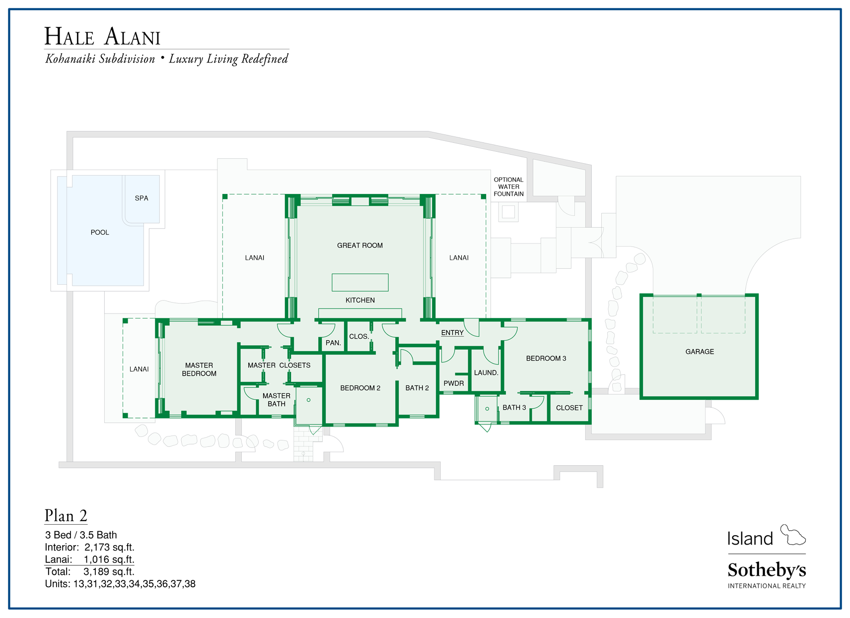 hale alani floorplan on Big Island HI
