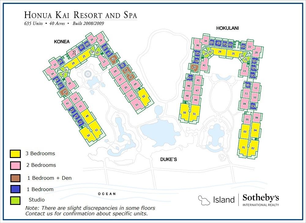 Honua Kai Resort Map Honua Kai Size Breakdown