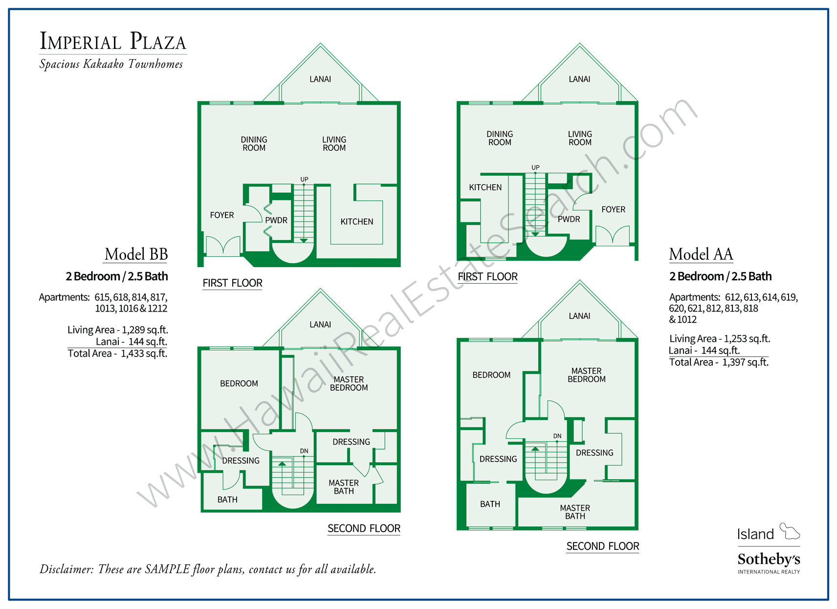 Imperial Plaza Floor Plan AA and BB