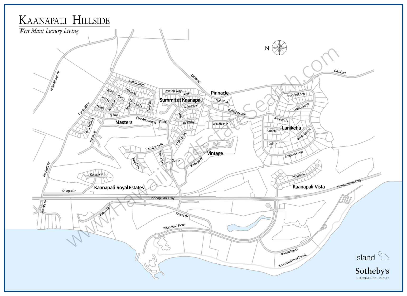 Kaanapali Hillside Area Map Updated