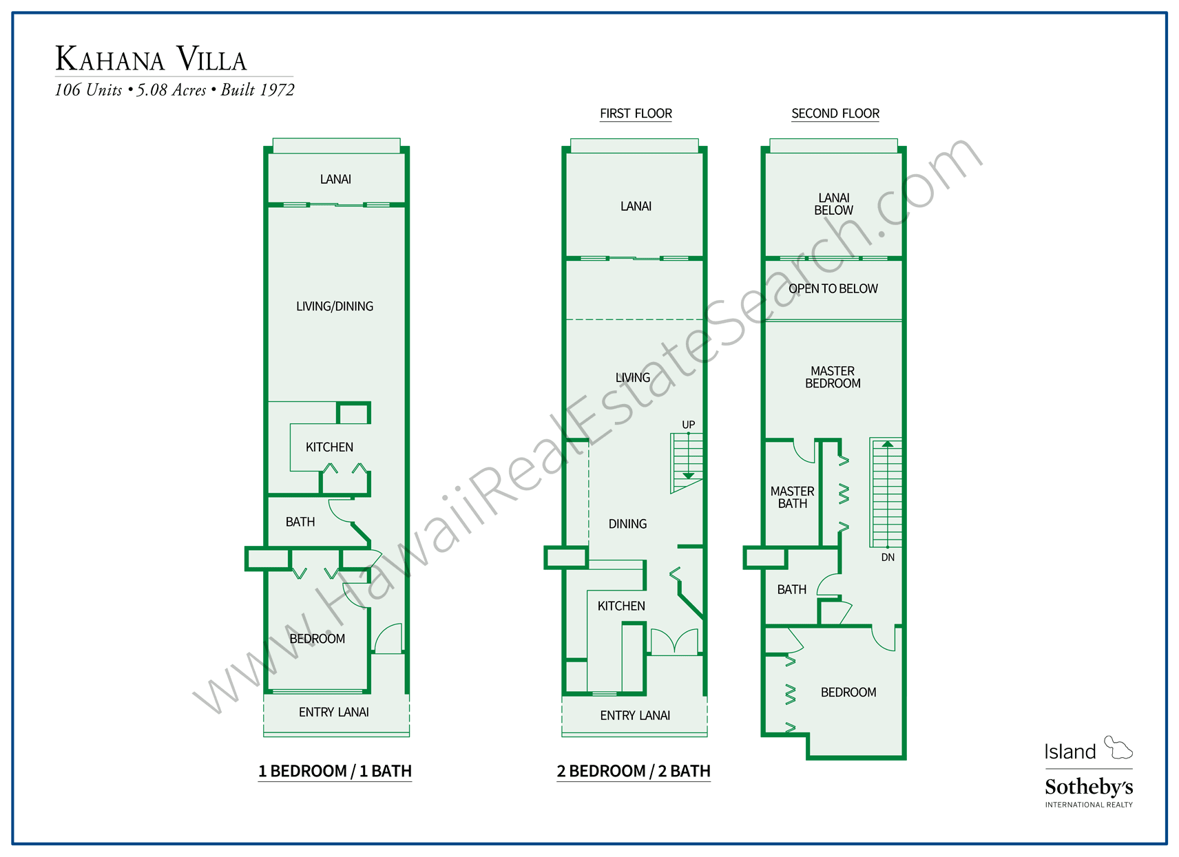 Kahana Villa Floor Plans