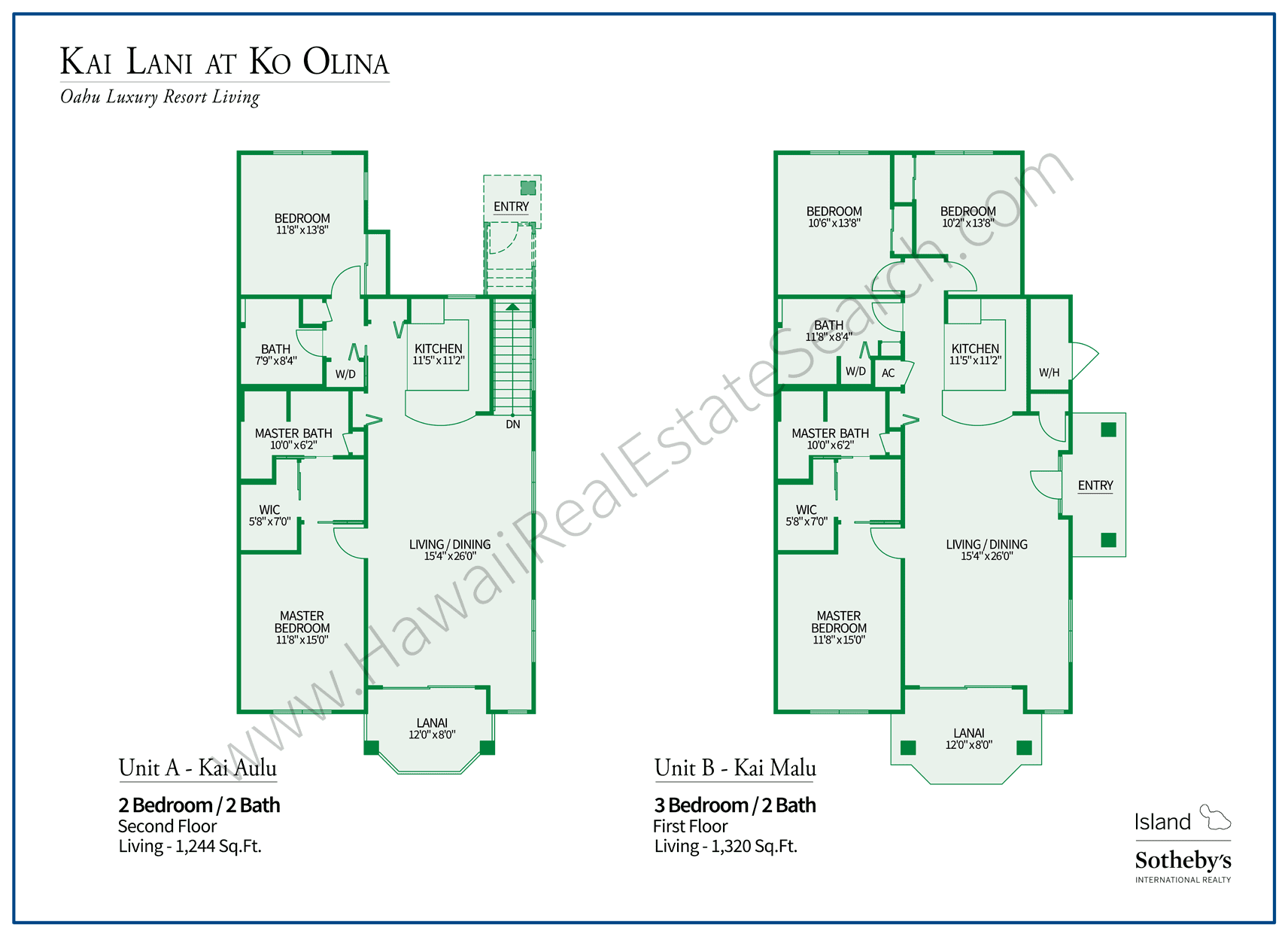 Floor Plans Kai Lani at Ko Olina