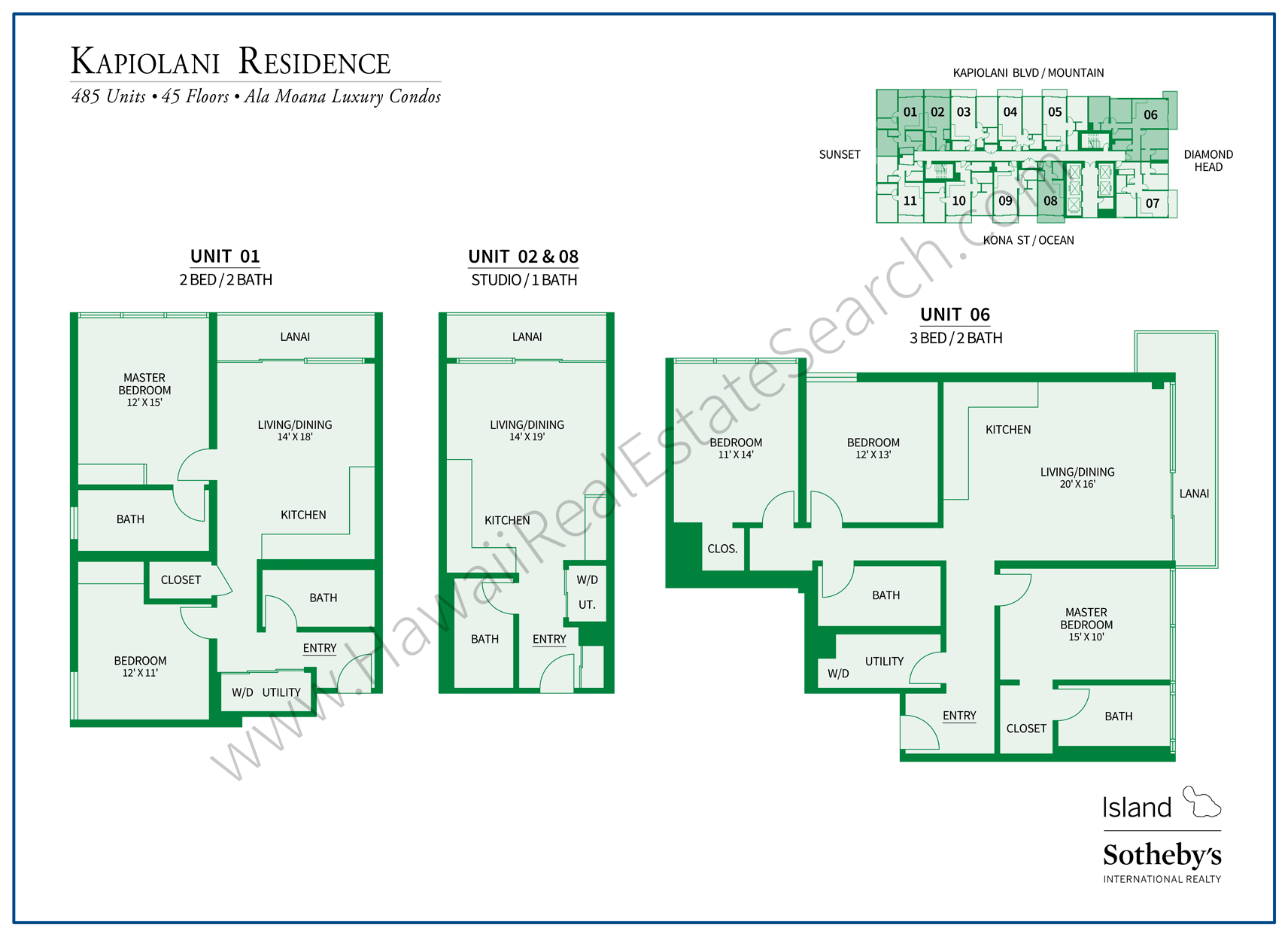 Kapiolani Residence Floor Plans Updated