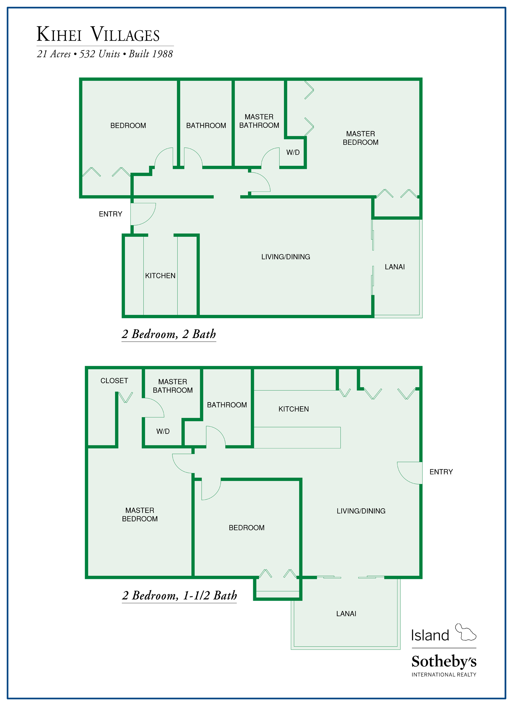 Kihei Villages Floor Plans