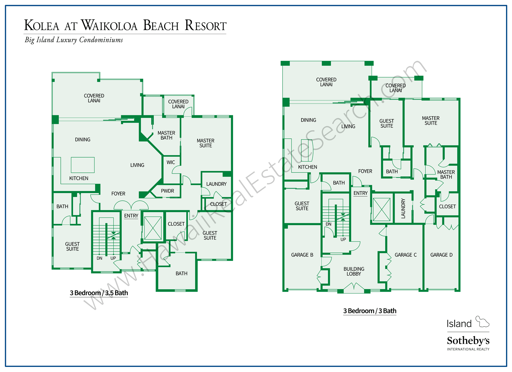 Floor Plans Kolea at Waikoloa
