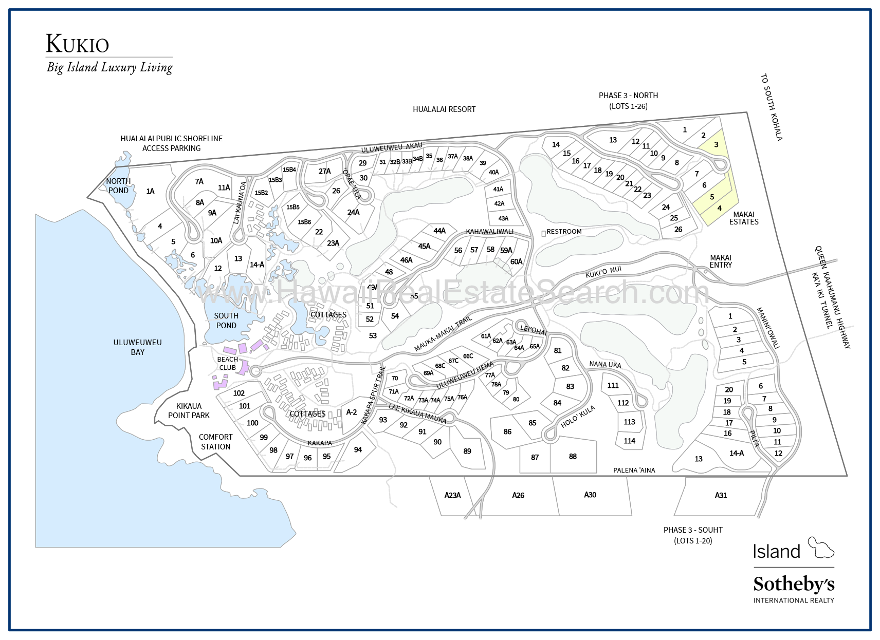kukio neighborhood map, kona big island