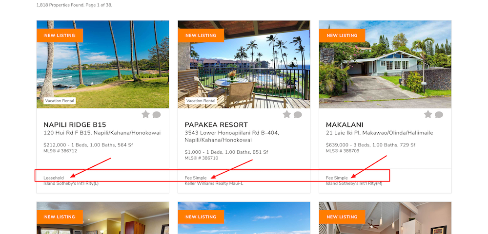 Hawaii leasehold search results
