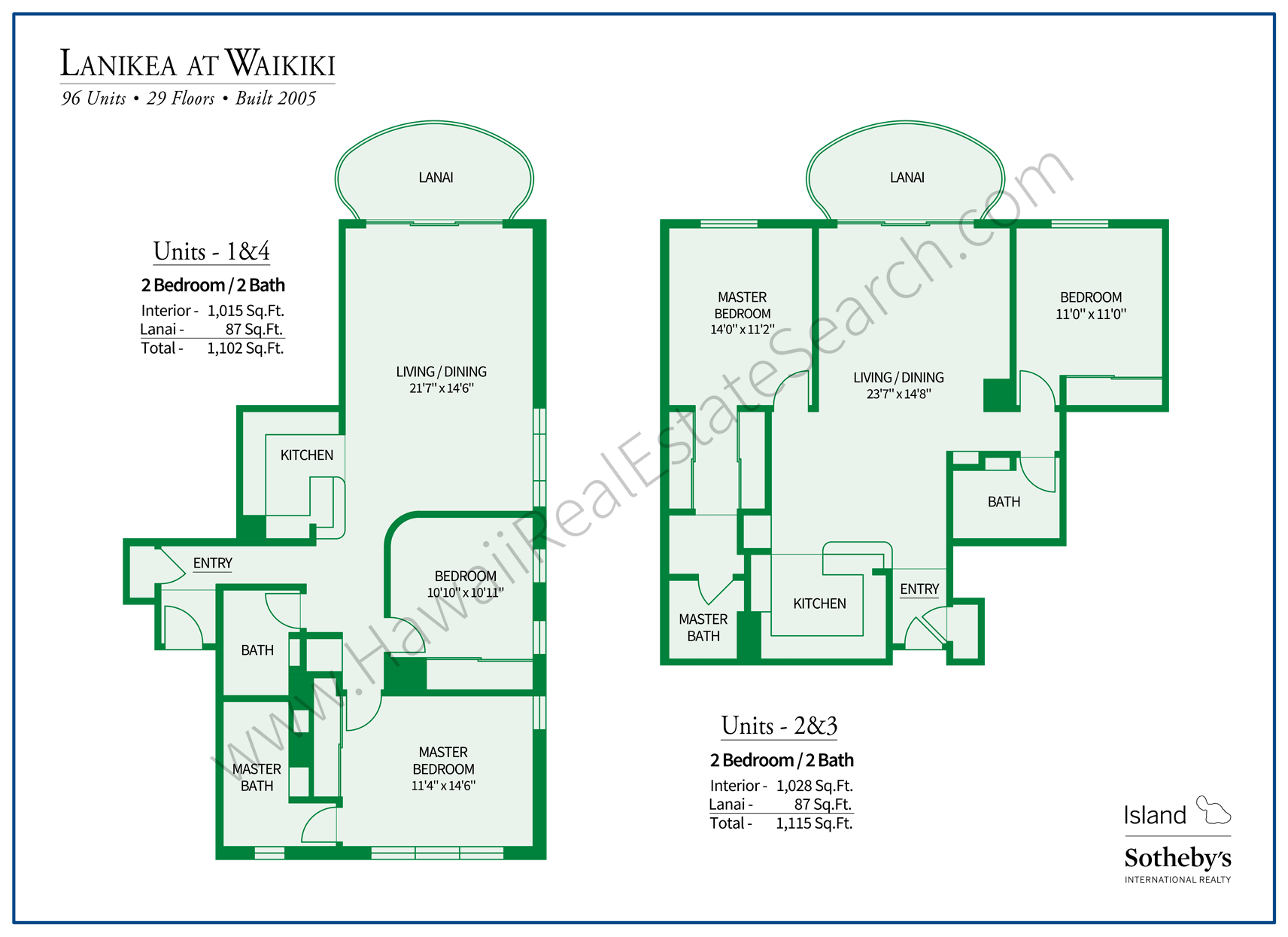 Lanikea at Waikiki Floor Plans
