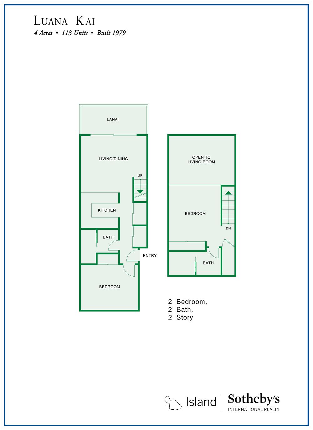 Luana Kai Floor Plan 2 Bedroom with Loft