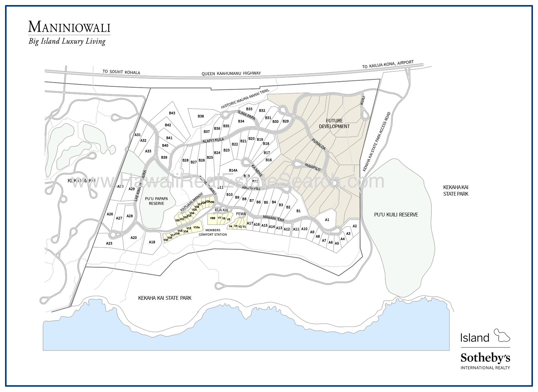maniniowali subdivision map on kona, hawaii