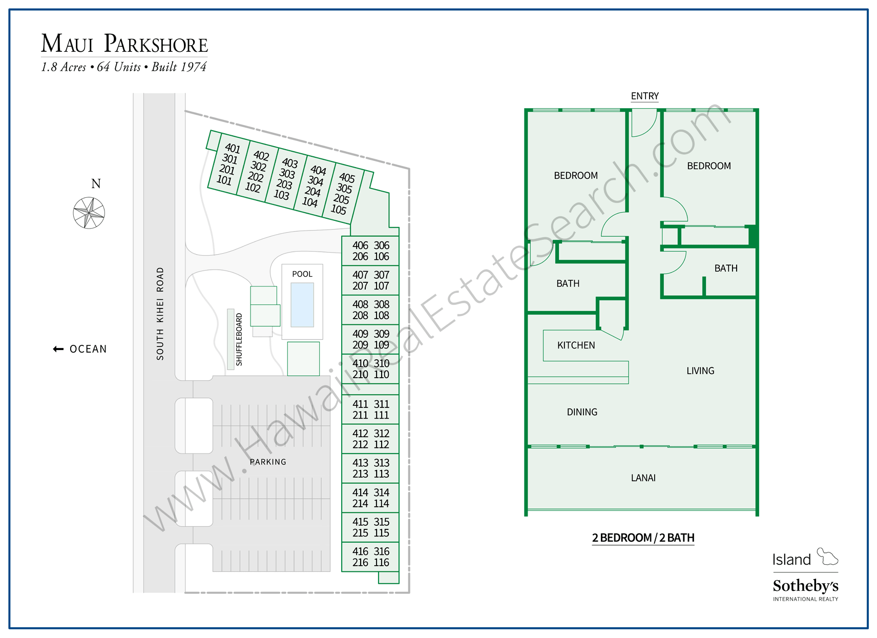 Maui Parkshore Property Map and Floor Plan
