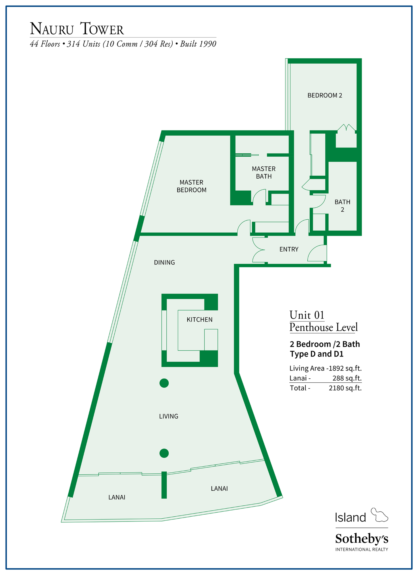 Nauru Tower Floor Plan Unit 1 Penthouse