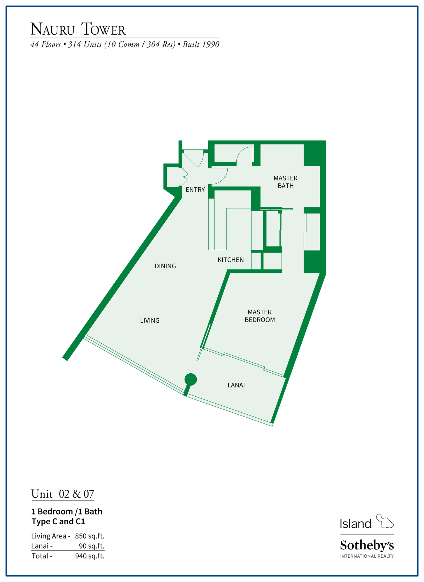 Nauru Tower Floor Plan Units 2 and 7
