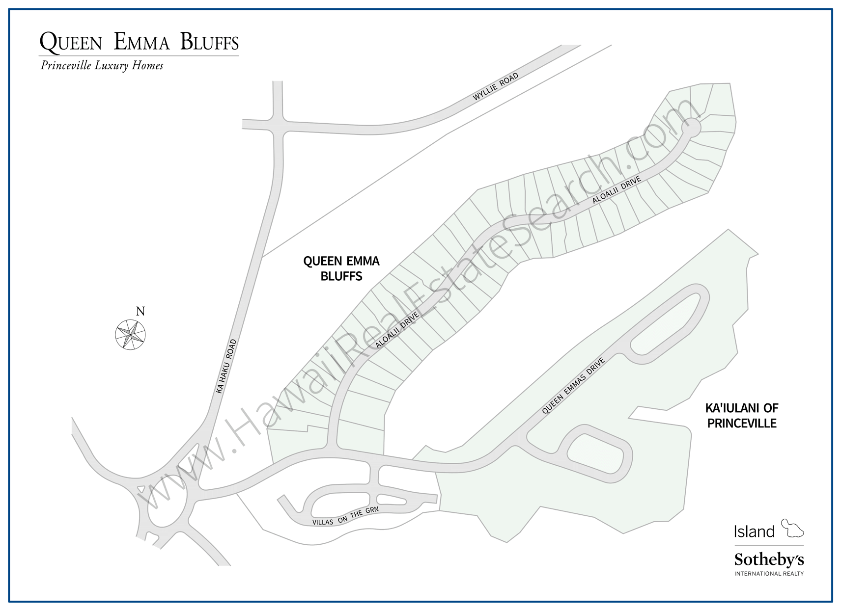 Queen Emma Bluffs Subdivision Map