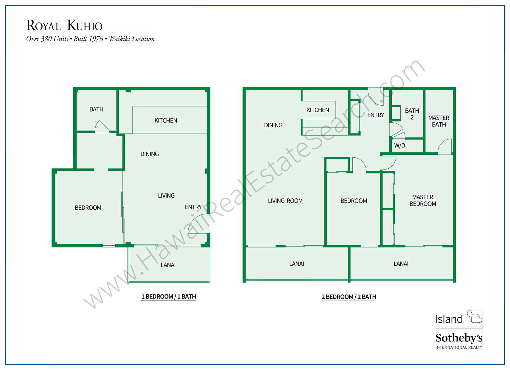 Floorplans of Royal Kuhio Condos