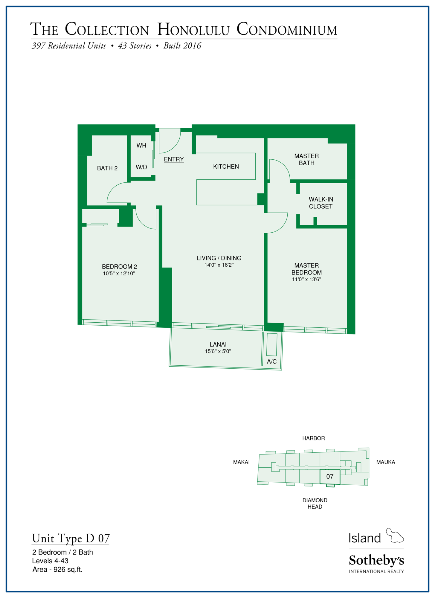 the collection floorplan kakaako oahu