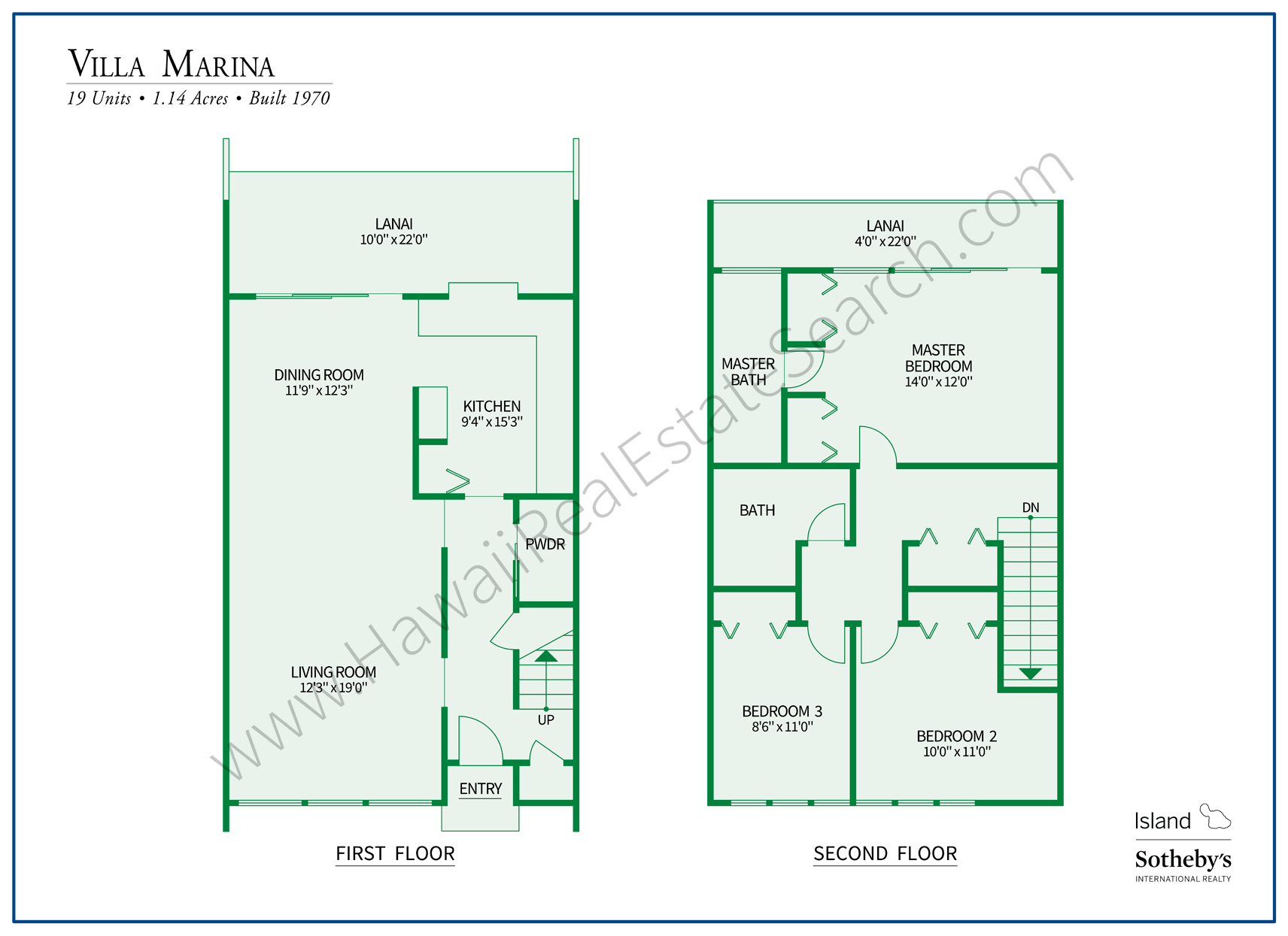 Floor Plan of Villa Marina, Hawaii Kai