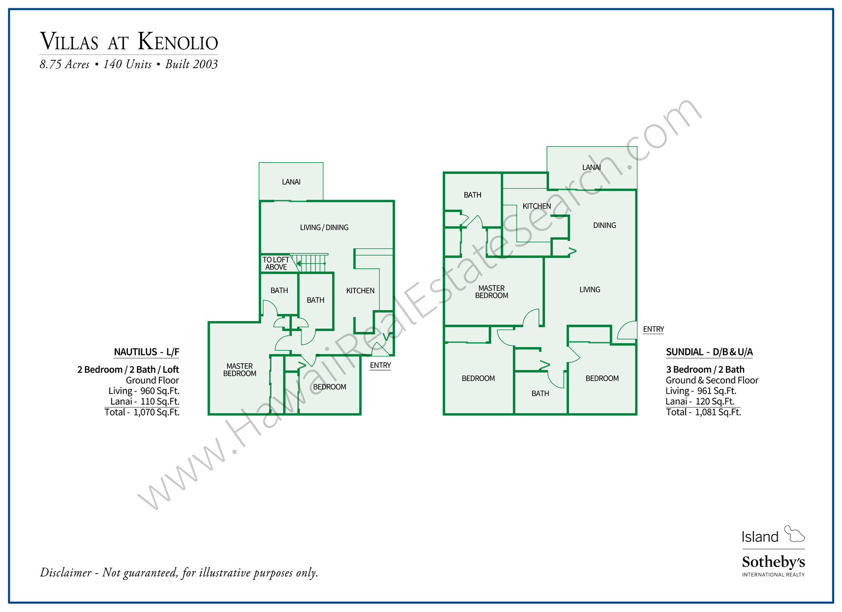 Villas at Kenolio Floor Plans