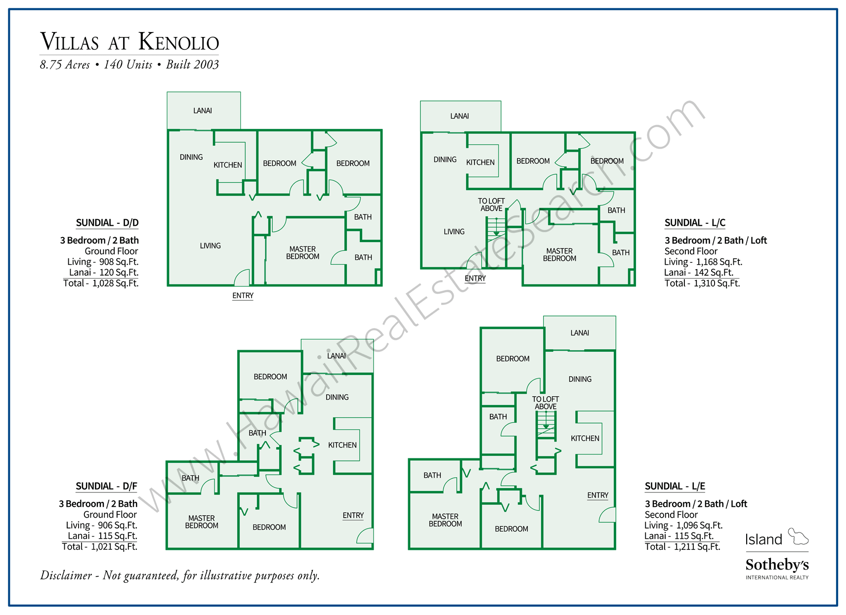 Floor Plans for Villas at Kenolio