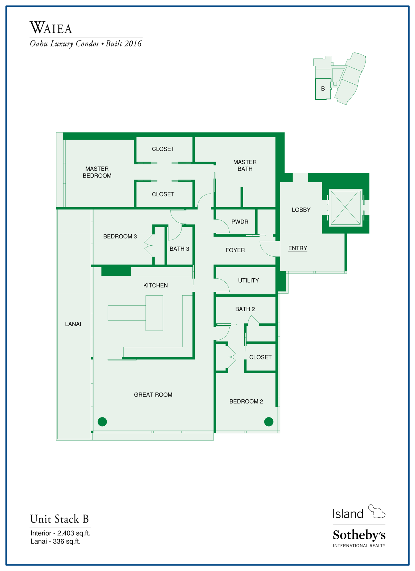waiea floor plan unit B