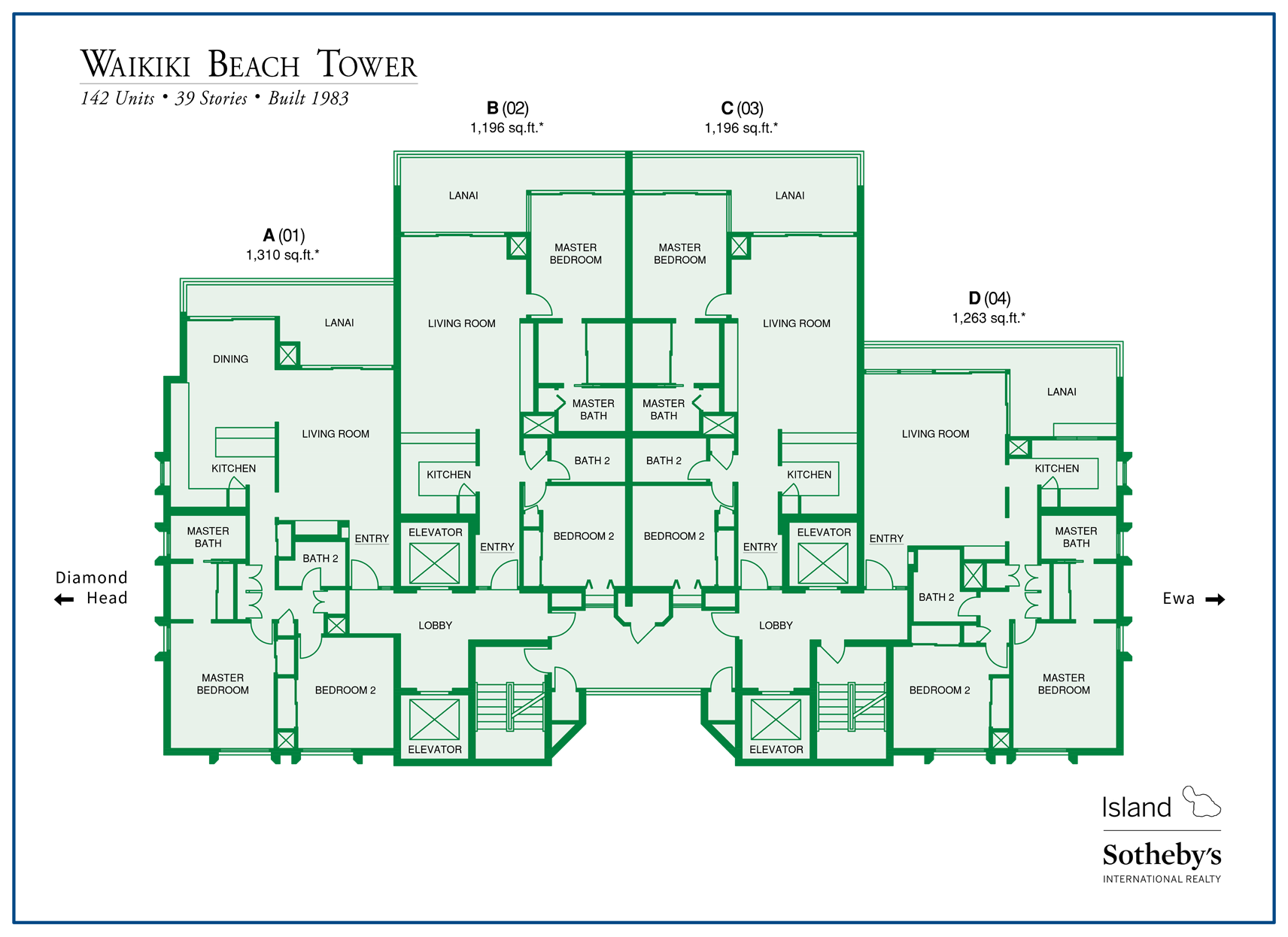 Waikiki Beach Tower Map