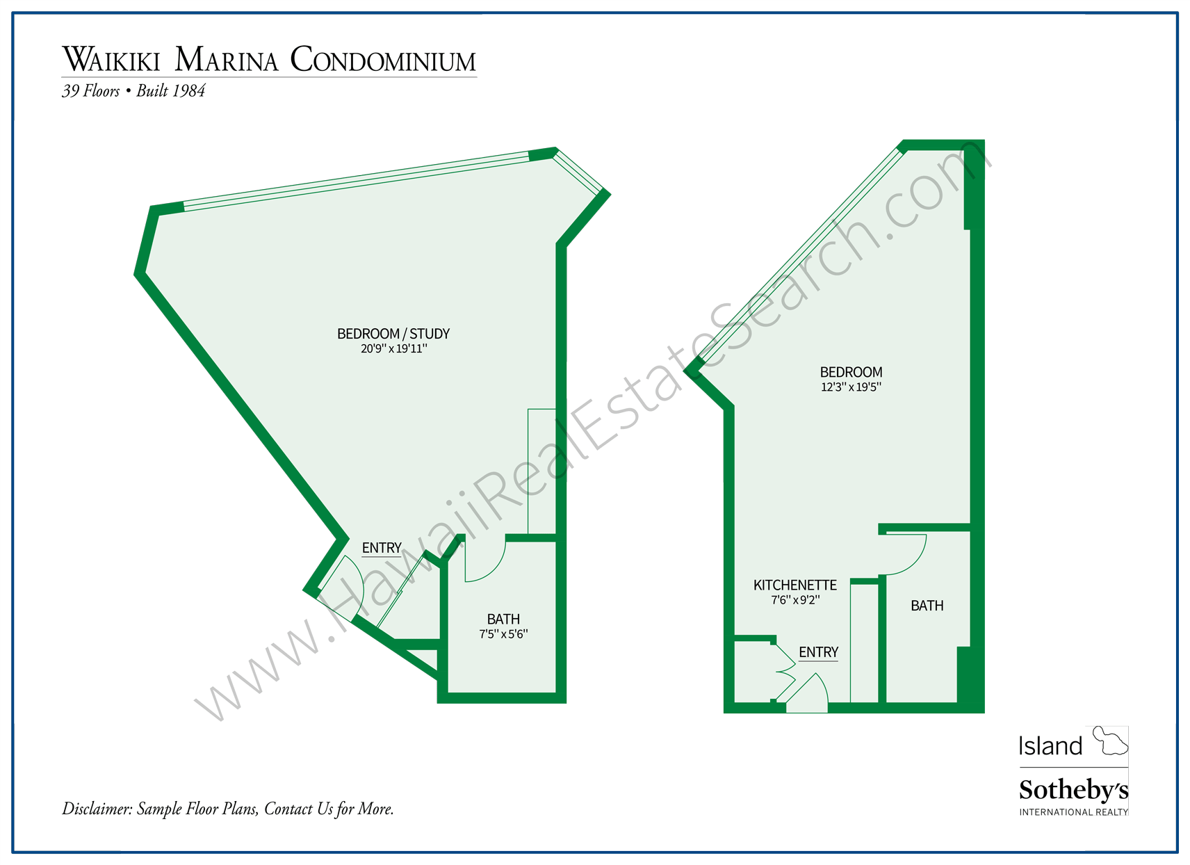 Waikiki Marina Condominium Floor Plans