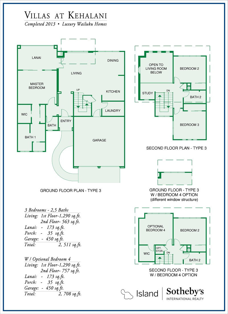 floor plan for villas at kehalani wailuku