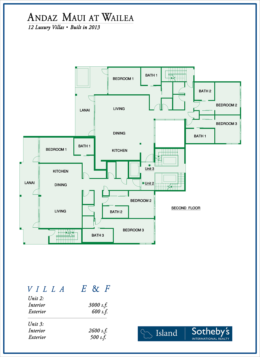 Maui Andaz Floor Plan Villa E2 and F2